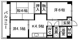 福岡県北九州市小倉北区金田2丁目の賃貸マンションの間取り