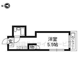 京都府京都市東山区轆轤町の賃貸マンションの間取り