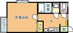 福岡県北九州市八幡西区町上津役東2丁目の賃貸アパートの間取り
