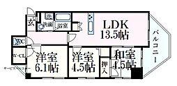 JR東海道・山陽本線 摩耶駅 徒歩11分の賃貸マンション 6階3LDKの間取り