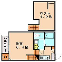 福岡県福岡市中央区六本松4丁目の賃貸アパートの間取り