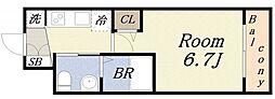 エグゼ大阪ドーム 3階1Kの間取り
