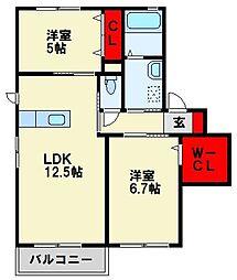 三洋タウン上香月 C棟[2階]の間取り