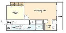東京メトロ日比谷線 築地駅 徒歩10分の賃貸マンション 3階1LDKの間取り