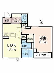 La・Saki福沢町 1階1LDKの間取り
