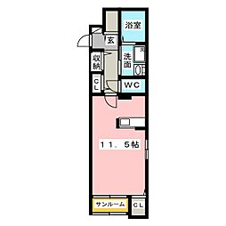 スタジオーネ ソーレ[1階]の間取り