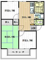 大阪府八尾市萱振町2丁目の賃貸アパートの間取り