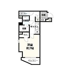 東京メトロ東西線 早稲田駅 徒歩13分の賃貸マンション 6階1Kの間取り