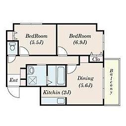 北海道札幌市東区北十一条東10丁目の賃貸マンションの間取り