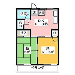 御殿山コーポ[1階]の間取り