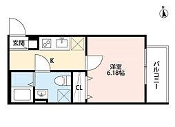 クラリスクオーレ[2階]の間取り