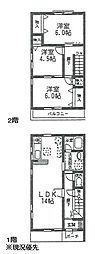 [テラスハウス] 神奈川県横浜市都筑区荏田東2丁目 の賃貸【/】の間取り