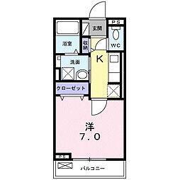 アルドゥル三条奈良II 3階1Kの間取り