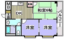 シャトー味谷[305号室]の間取り