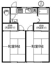 富沢ホワイトコーポB[202号室号室]の間取り
