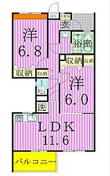 エクセル新松戸[103号室]の間取り