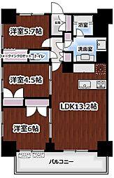 ライトテラス新宿御苑 10階3LDKの間取り
