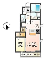 東京都三鷹市大沢4丁目の賃貸アパートの間取り