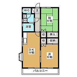 カサ・フローラ新高根[201号室]の間取り