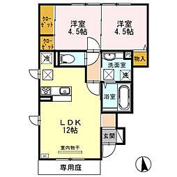 兵庫県姫路市広畑区正門通2丁目の賃貸アパートの間取り