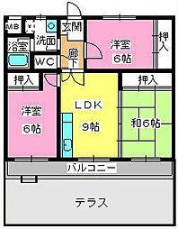 福岡県春日市大谷3丁目の賃貸マンションの間取り