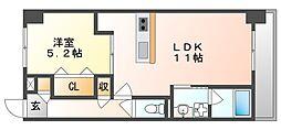 JR宇野線 備前西市駅 徒歩8分の賃貸マンション 6階1LDKの間取り