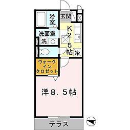 神鉄粟生線 緑が丘駅 徒歩1分の賃貸アパート 1階1Kの間取り