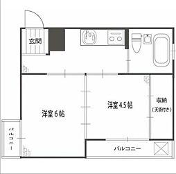 東京メトロ南北線 東大前駅 徒歩5分の賃貸マンション 2階2Kの間取り