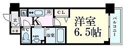 プレサンス新大阪イオリア 9階1Kの間取り
