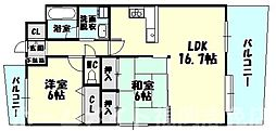 福岡県糟屋郡志免町南里6丁目の賃貸マンションの間取り