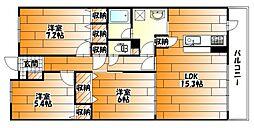 広島県広島市安佐南区緑井4丁目の賃貸マンションの間取り