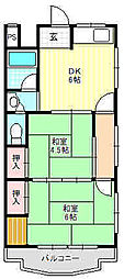 田村グリーンハイツ[2階]の間取り