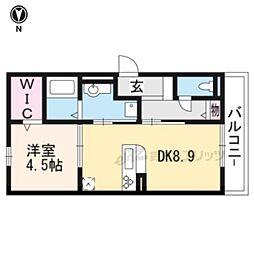 京都地下鉄東西線 石田駅 徒歩5分の賃貸アパート 3階1DKの間取り