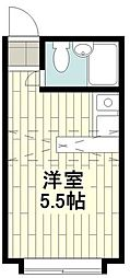 JR東海道本線 大船駅 徒歩18分の賃貸アパート 2階ワンルームの間取り