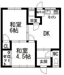 広島大竹市共同住宅[1号室]の間取り