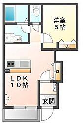 埼玉県和光市下新倉5丁目の賃貸アパートの間取り