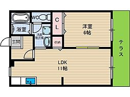 サンガーデン安威 A棟[2階]の間取り