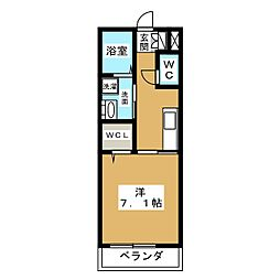 ドルチェ磐田二之宮 3階1Kの間取り
