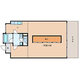 近鉄京都線 高の原駅 徒歩11分の賃貸マンション 1階1Kの間取り