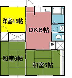 神奈川県南足柄市和田河原の賃貸アパートの間取り