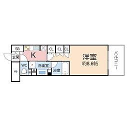 ザ・パークハビオ堂島 3階1Kの間取り