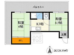竹宏深江橋マンション 5階2Kの間取り
