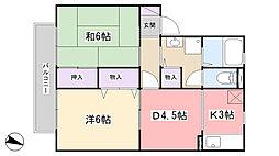 千葉県習志野市藤崎6丁目の賃貸アパートの間取り