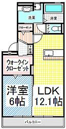 長野県長野市大字北尾張部の賃貸アパートの間取り