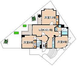 阪急神戸本線 六甲駅 徒歩17分の賃貸マンション 1階3LDKの間取り