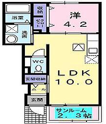 大阪府枚方市招提南町3丁目の賃貸アパートの間取り