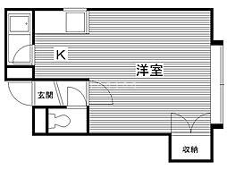 コート澄川A 1階1Kの間取り