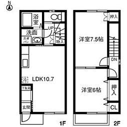 愛知県稲沢市稲沢町前田の賃貸アパートの間取り