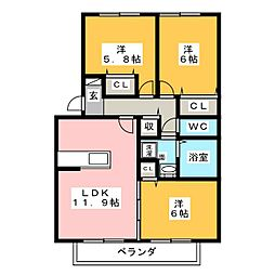 ロイヤルガーデン なでしこ館[2階]の間取り