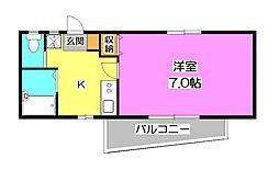 パークビュー星の宮[1階]の間取り